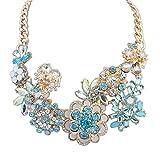 meilicollar kristallinen Blumen Halskette Diamant-Exquisiten Luxus Destello -, blau
