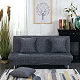 Monba Lino Modello Divano Letto futon Cover Pieghevole Senza braccioli Completo di Fodera per Living Room, Poliestere, Dark Gray, L:160-190cm