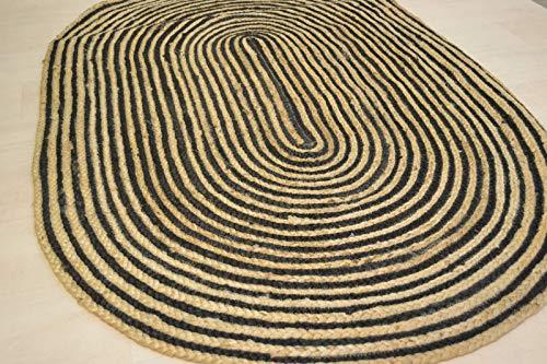 Rugsite Oval Jute schwarz rustikal geflochten 90x 150cm Mats. American Style Teppiche für Küchen Wintergärten -
