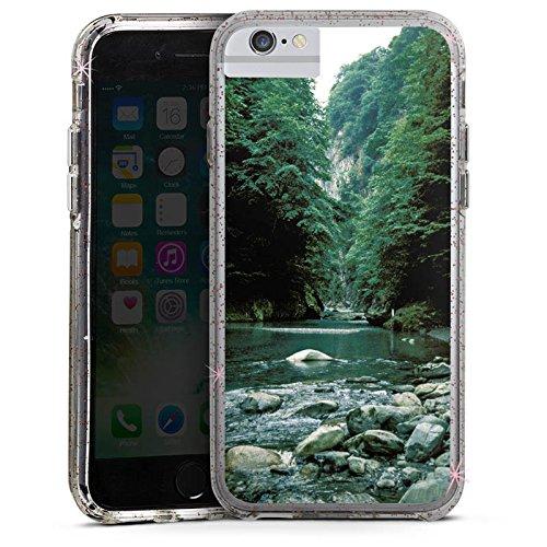 Apple iPhone 6 Bumper Hülle Bumper Case Glitzer Hülle Fluss Forest Wald Bumper Case Glitzer rose gold