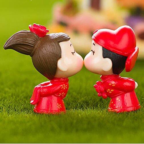 nschen Minifiguren Kleine Größe Mikro-Figuren Statue Kissing Paar [Hochzeit Serie] für Micro Landscape Schreibtisch Home Decoration Kleine Statue Mini Sclupture Pack von 2 (Legte Sich Auf Den Tisch)