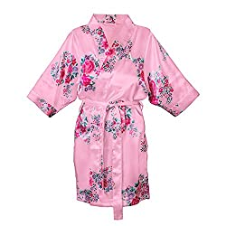 Cathys Concepts Personalized 1X/2X Floral Satin Robe, Pink, Letter A