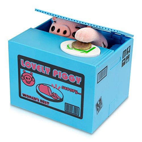 """Spardose Kiste mit Schwein - Blau \""""Piggy Bank\"""" Design - Gadget Elektro Sparbüchse als Geschenkidee - Grinscard"""