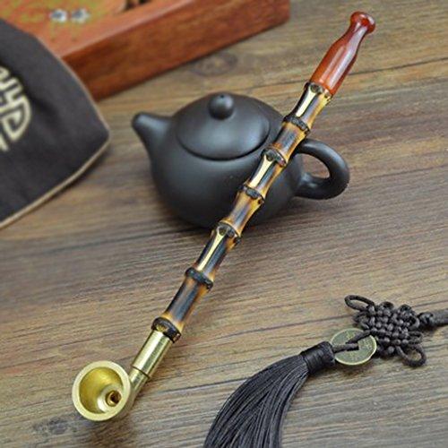 Liuyu · Maison de Vie Tabac Pipe Tabac Sacs À La Main Cuivre Fumée Pot Bambou Tabac Tige Pipe 25cm (Couleur : Ordinary Type)