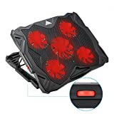 MECO Laptop Cooling Pad Ultra-Quiet Laptop Cooler for 13-17'' Laptops and Notebooks 5 Quiet Adjustable Fans and 5 Adjustable Height, 2 USB Ports, Light Weight