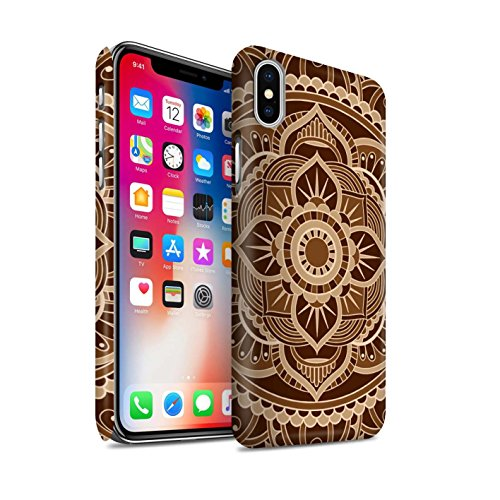 STUFF4 Matte Snap-On Hülle / Case für Apple iPhone X/10 / Blumen/Blau Muster / Mandala Kunst Kollektion Blumen/Sepia
