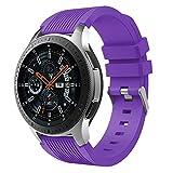 MuSheng For Samsung Galaxy Watch 46MM Armband Band,Fashion Fitness Weicher Silikon Ersatz Band Bügel Armband für Samsung Galaxy Watch 46MM (Lila)
