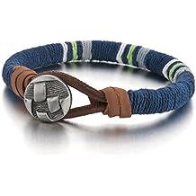 MunkiMix Aleación Cuero Pulsera Brazalete Brazalete El Tono De Plata Azul Cable Cuerda Hombre