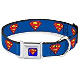 Buckle Down 22,9–38,1 cm Superman Shield Hundehalsband blau