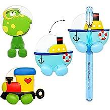 """Halter für Zahnbürste - """" bunte Figuren """" - mit Saugnapf - Badezimmer Bad / für die Zahnbürste - Zahnbürstenhalter / Halterung - für Kinder Baby & Erwachsene - Kinderzahnbürste / Mädchen Jungen - Wand Putztrainer - Babyzahnbürste - Zähne putzen - Kleinkinder Zahnbürsten / Zähneputzen lernen - Wandhalterung - Tiere Frösche"""