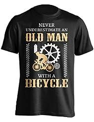 """Funny ciclismo camiseta """"nunca ignorar un anciano con una bicicleta"""" ciclismo camiseta–gran Idea de regalo para Dad, Brother, Uncle o un amigo en cualquier ocasión. Regalo de cumpleaños, regalo del día del padre y de Navidad regalo..., negro"""