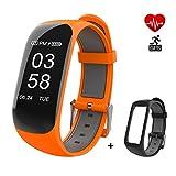 Pulsera Actividad Pulsera Inteligente con GPS para Correr, Pulsera Móvil Monitor de Frecuencia Cardíaca, Podómetro, Distancia, calorías, GPS, Alerta de Llamada y SMS, para iOS Android, con 1 pulsera - Naranja