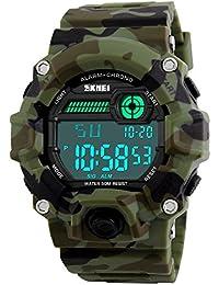Digital Deportivos Relojes de Hombre Camuflaje Plástico Bisel Cuero Correa Outdoor Militares Táctica 50M Resistente Agua LED Número Display Diseño Simple Multifuncional Electrónica Relojes de Pulsera