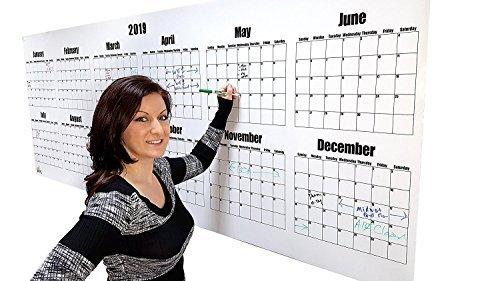 Dry Erase calendar- 2019groß Dry Erase Board Wandkalender 91,4cm Hohe x 243,8cm Breite, Oversize Kalender (Dry Erase-kalender Aufkleber)