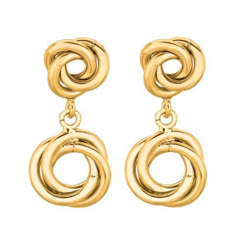 14K oro giallo lucido doppio nodo d' amore come orecchini pendenti