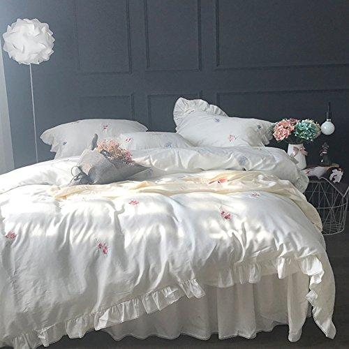 Bettwäsche-Sets Vierteilige Reihe von Amerikanischen Einfachen Stickereien Quilt Decke Baumwolle 60 betten Spitzenrock-A 200x230cm(79x91inch)