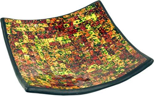 Guru-Shop Bol Mosaïque Carré - Jaune/coloré, Multicolore, Taille : Moyenne (25x25 cm), Bols en Mosaïque