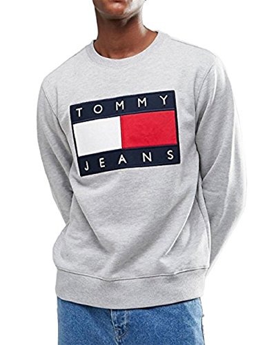TOMMY JEANS HERREN SWEATSHIRT, Gr. S, Grau
