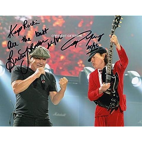 Edizione limitata Brian Johnson Angus Young firmato foto + Cert Edizione Limitata, Con Autografo stampato - Ora Cd Collection