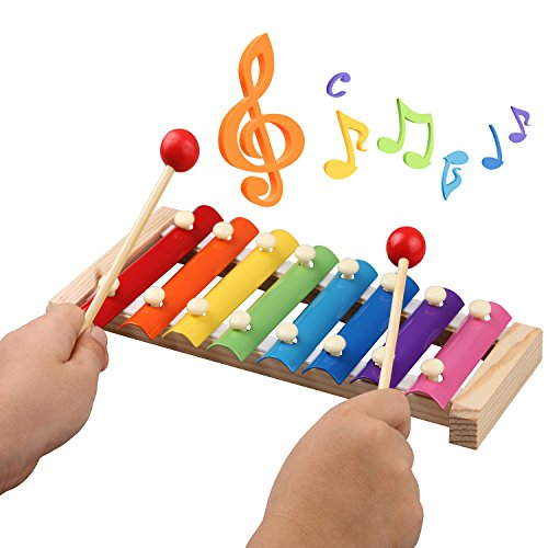 Kids Musical Instruments, Musical Instruments Wood Xylophone for Kids Children, Child Wooden Music Shakers Percussion Instruments Tambourine Birthday Gifts Present with Carrying Bag (17 PCS Handbag)