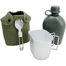 begrit eléctrica al aire libre 1Quart Canteen Kit con tapa taza y de aluminio para senderismo Camping