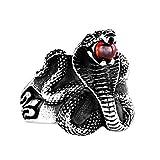 KnBoB Edelstahl Herren Ring Schlange Cobra Rot Stein Zirkonia Silber Partnerringe Gothic Silber Ring Größe 54 (17.2)