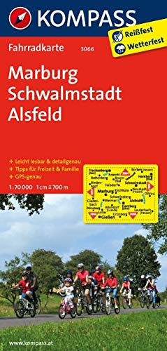 KOMPASS Fahrradkarte Marburg - Schwalmstadt - Alsfeld: Fahrradkarte. GPS-genau. 1:70000: Fietskaart 1:70 000 (KOMPASS-Fahrradkarten Deutschland, Band 3066)