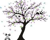 AIYANG Cerisier mur Décalcomanie Panda mur Autocollants Stickers Muraux Pour la Chambre du bébé Chambres d'enfants (noir, rose)