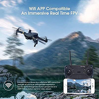 EACHINE Drone With Camera, E58 WIFI FPV Quadcopter With 2MP 720P Wide Angle Camera Live Video Mobile APP Control Foldable Altitude Hold Mode Selfie Pocket RC Helicopter RTF…