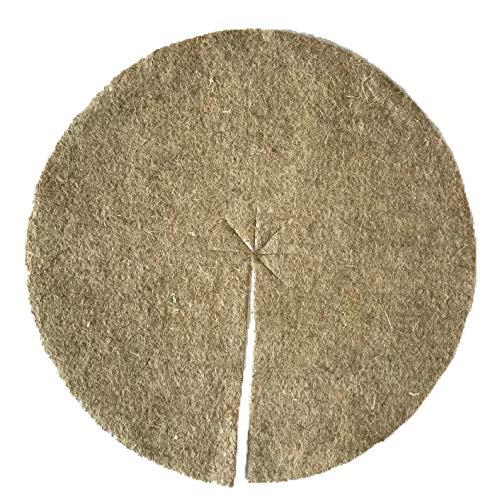 Disque de paillage en fibres de chanvre, mulch-disk, 100 pièces, diamètre :80 cm, 5 mm d'épaisseur, tapis de protection des plantes, tapis de protection contre les mauvaises herbes, tapis de protection pour l'hiver, 100 % biodégradable, fabriqué à partir d'une matière première renouvelable, écologique et locale, convient aux parterres et pots de fleurs