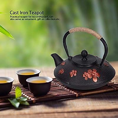0.9L Théière En Fonte Style Japonais Rouge Oriental Cerise Motif Cuivre Tetsubin Classique Bouilloire Drinkware Outil pour Restaurant À La Maison