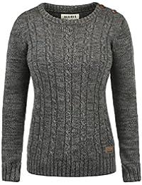 DESIRES Phia Damen Strickpullover Zopfstrick mit Rundhalskragen aus hochwertiger 100% Baumwolle Meliert