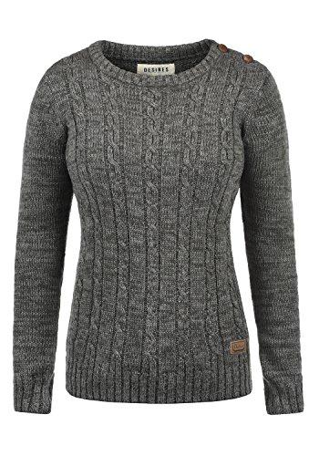 DESIRES Phia Damen Winter Strickpullover Troyer Grobstrick Pullover, Größe:M, Farbe:Dark Grey (2890)