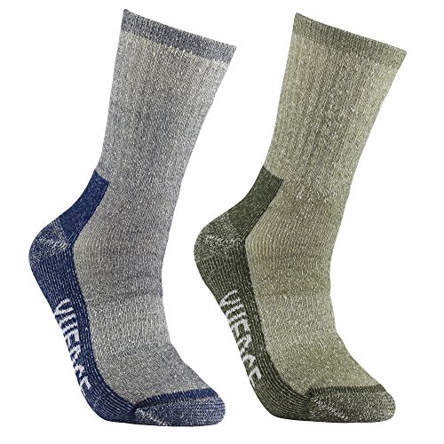 Calze da escursionismo e trekking di lana merino - yuedge 2 paia di claze uomo wicking anti-blister calze per tutte le attività all'aperto(blu & green )