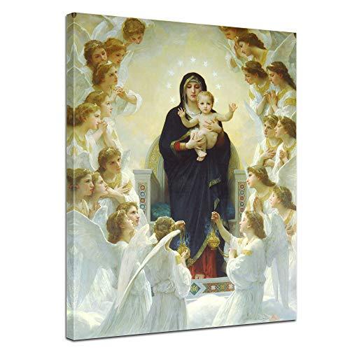 Wandbild William-Adolphe Bouguereau Die Jungfrau mit Engel - 50x70cm hochkant - Alte Meister Berühmte Gemälde Leinwandbild Kunstdruck Bild auf Leinwand -