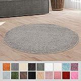 Taracarpet Hochflor Langflor Shaggy Teppich geeignet für Wohnzimmer Kinderzimmer und Schlafzimmer flauschig und pflegeleicht grau 120x120 cm rund