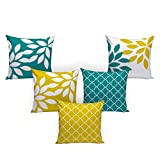 #7: Dream Weaverz Stylish Abstract Print Cushion Cases Set of 5- Made of Exceptional Quality Velvet & Dupion with Clear 3D Print for a Perfect Interior (16*16 inch)- Yellow & Green
