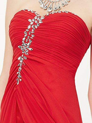 Ever Pretty Robe de cocktail longue bustier asym¨¦trique orn¨¦e des diamants 08120 Vermillon