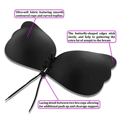 Frauen trägerlosen BH, BeautyG selbstklebende Silikon unsichtbare Push-up-BH Schwarz