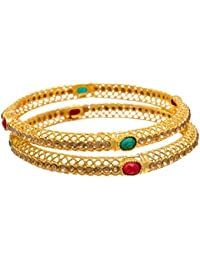 JFL - Traditional & Ethnic One Gram Gold Plated Red Green Stone Bangle Set With LCD/Champagne Color Austrian Diamonds...