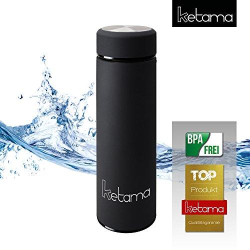 SCHWARZE THERMOSFLASCHE - doppelwandig mit TEESIEB 0,5l (500ml) EDELSTAHL gummiert - GUMMI beschichtet KLEIN & handliche TRINK-FLASCHE | Reise Isolier-Kanne | auch für BABYs & KINDER | BPA frei (Tee-und Isolier-becher)