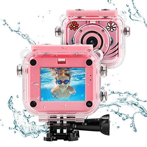 Kincam hd fotocamere digitali per bambini fotografica macchina fotocamera digitale subacquea kids per bambina foto/videocamera 1080p impermeabile 30m (rosa)