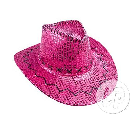 LOT DE 6–Hut Cowboy Pailletten Rosa–Qualität coolminiprix® (Rosa Pailletten Cowgirl Hut)
