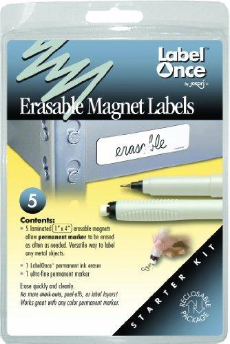 Jokari Label Once Erasable Magnetic Labels Starter Kit with 5 Labels, Eraser and Pen by JOKARI