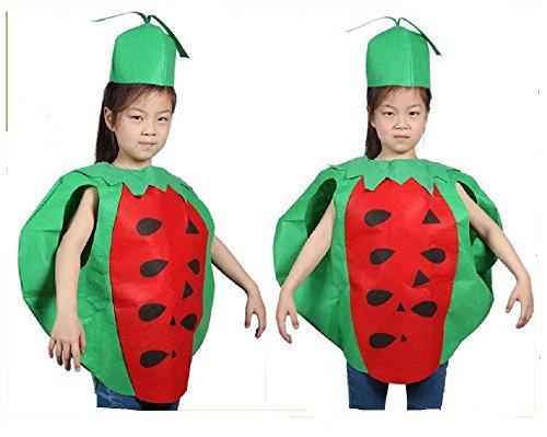 Kind Kostüm Wassermelone - Matissa Früchte Gemüse und Natur Kostüme Anzüge Outfits Kostümfest für Jungen und Mädchen (Wassermelone)