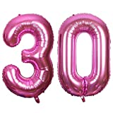 Ouinne Ballon Zahl 30, Helium Folie Luftballon 30 Geburtstag Folienballon Geburtstag Dekoration Set Riesen Folienballon Fur Party (Pink, 40 Zoll)