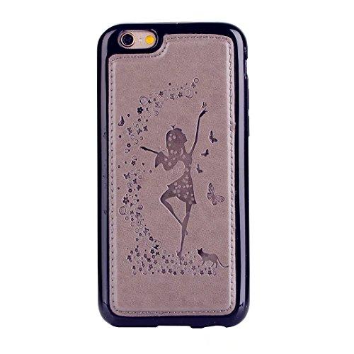 Custodia iPhone 7 2 in 1 Flip Magnetica contanti e slot per schede Custodia in pelle Protettiva Cover-porpora grigio