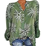 DEELIN Tops Damen Sommer Plus Size Chiffon Blumendruck Langarm Bluse Pullover Tops Shirt …