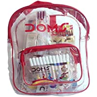 Doms Go To School Stationery Kit (11 Pcs In Kit) With Transparent Zipper Bag.