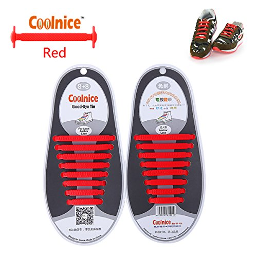 coolnice-no-tie-shoelaces-for-adults-diy-16pcs-environmentally-safe-waterproof-silicon-color-of-red